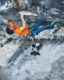 Stefano Ghisolfi making the first ascent of One Punch 9a+ at the crag Laghel, Arco