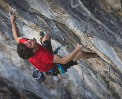 Stefano Ghisolfi climbing One Punch 9a+ at the crag Laghel, Arco