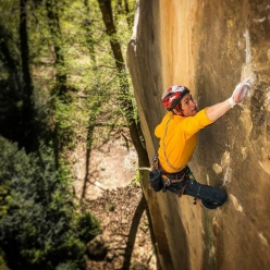 James Pearson making the first ascent of Le Voyage at Annot in France