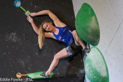 Shauna Coxsey competing in third stage of the Bouldering World Cup 2017 at Nanjing in China