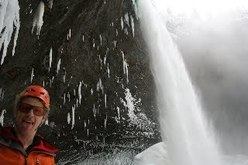 Tim Emmett beneath Spray On at Helmcken Falls, Canada, first climbed by himself and Will Gadd, 01/2010