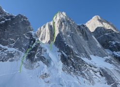 The line of Beastiality up Bears Tooth, Alaska, first ascended by Greg Boswell and Will Sim