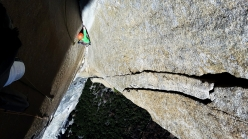 Dimitri Vogt dealing with The Shaft on he Muir Wall, El Capitan, Yosemite