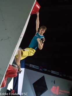 Russia's Aleksei Rubtsov wins the 4th stage of the Bouldering World Cup 2017 at Hachioji - Tokyo in Japan
