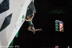 Slovenia's Janja Garnbret wins the 4th stage of the Bouldering World Cup 2017 at Hachioji - Tokyo in Japan