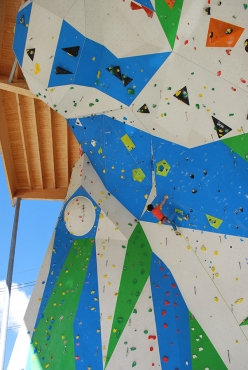 Adam Ondra warming up at the ADEL climbing wall at Campitello di Fassa, Italy