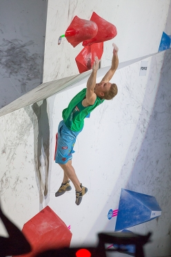 Jakob Schubert during the 4th stage of the Bouldering World Cup 2017 at Hachioji - Tokyo in Japan