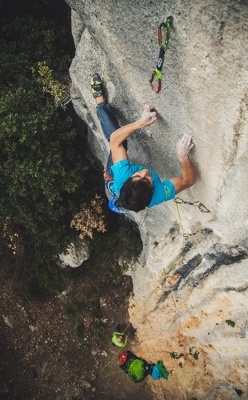 Pietro Biagini climbing the historic Ombra at Rocca di Perti, Finale Ligure, Italy