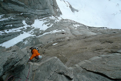 View down onto the first crux of Waiting for Godot (750m, 7b) Torres del Paine, Patagonia.