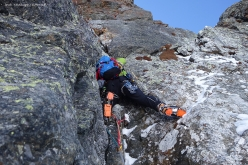 Eraldo Meraldi and Stefano Bedognè on 08/04/2017 making the first ascent of 'Magic Line' up the North Face of Monte Foscagno, Italy