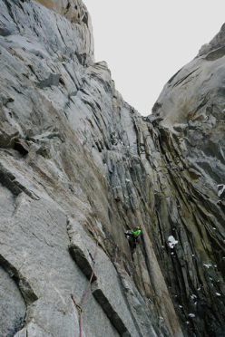 The first complicated pitch of Waiting for Godot (750m, 7b) Torres del Paine, Patagonia.