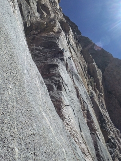 Hansjörg Auer and Much Mayr making the first ascent of Mango Tango, Black Canyon, Colorado, USA on 04/05/2017