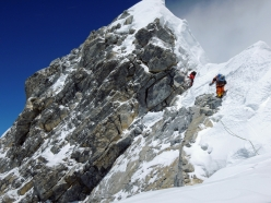 The famous Hillary Step on Everest, photographed on 18/05/2012 by Ueli Steck during his ascent of the highest mountain in the world