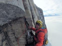 Marek Raganowicz making the first ascent of The Secret of Silence, East Face of The Ship's Prow, Baffin Island