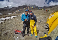 Hervè Barmasse and David Goettler at Base Camp after having climbed the SW Face of Shisha Pangma in 13 hours (note the rucksacks used for the ascent)