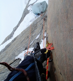 Marek Raganowicz making the first ascent of MantraMandala, East Face of The Ship's Prow, Baffin Island