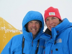 Simone Moro and Tamara Lunger at Kangchenjunga Base Camp