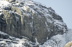The East Buttress of Scafell. Never Ever Say Never takes the central drip.