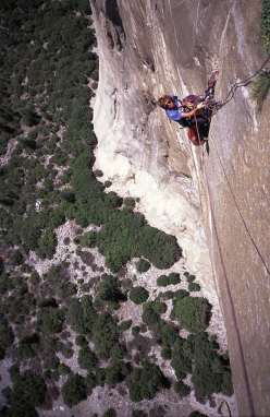 Steve Quinlan making the first ascent of Adrift, El Capitan, Yosemite, climbed in 1994 together with Paul Pritchard