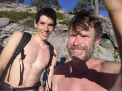 Alex Honnold and Peter Zabrok on the summit of El Capitan, Yosemite, after the first repeat of Adrift carried out by Zabrok and Sean Warren (05-06/2017)