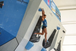 Meagan Martin competing in the Vail stage of the Bouldering World Cup 2017