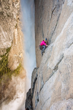 Sasha DiGiulian and Jon Cardwell making the first free ascent of Misty Wall, Yosemite Valley, USA on 27 May 2017