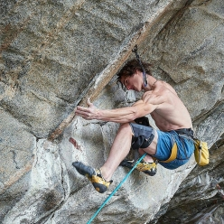 Adam Ondra working Crux 2 (font 8B) on Project Hard, a possible 9c project at Flatanger - Hanshellern in Norway