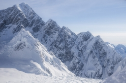 The immense South Ridge of Mount Huntington (3731m) in Alaska, climbed by Clint Helander and Jess Roskelley via their new route 'Gauntlet Ridge' from 18 - 25 April 2017