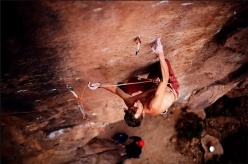 Pirmin Bertle climbing his 'Ruta de Cobre' 9a at Socaire in the Atacama in Chile