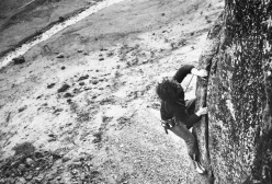 Mike Kosterlitz climbing the top pitch of Gormenghast E1 5a, Heron Crag, Eskdale, England