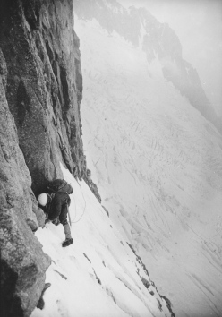 Mike Kosterlitz on the first Ice Traverse of the Walker Spur, Grandes Jorasses
