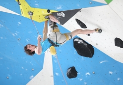Adam Ondra competing in the semifinals of the European Lead Championship 2017 at Campitello di Fassa