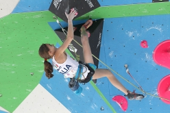 Laura Rogora competing in the semifinals of the European Lead Championship 2017 at Campitello di Fassa