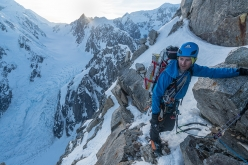 Jess Roskelley making the first ascent of the South Ridge of Mount Huntington, Alaska, 2017