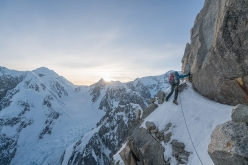 Jess Roskelley and Clint Helander making the first ascent of the South Ridge of Mount Huntington, Alaska