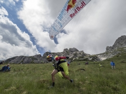 Tom De Dorlodot (BEL) performs during Red Bull X-Alps on Mangart, Slovenia on July 4, 2017