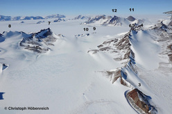 Part of Holtedahlfjella, showing peaks climbed and named by the Austrian expedition. (3) Roteck. (4) Austrian Peak. (5) Tiroler Spitze. (6) Styria. (7) Alexey Turchin. (8) Kamelbuckel. (9) Galileo Nunatak. (10) Steinskar Nunatak. (11) Galileo. (12) Peak of Silent Solitude.