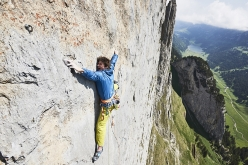 Michael Wohlleben making the first free ascent of 'Parzival' (8b, 150m), Westliche Dreifaltigkeit, Alpsteingebirge