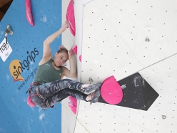 Janja Garnbret competing in the European Climbing Championship Campitello 2017