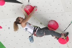 Claudia Ghisolfi competing in the European Climbing Championship Campitello 2017