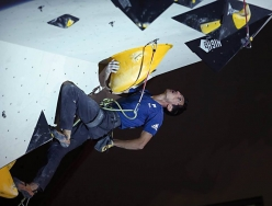 Romain Desgranges competing in the European Climbing Championship Campitello 2017