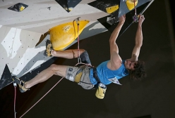Adam Ondra competing in the European Climbing Championship Campitello 2017