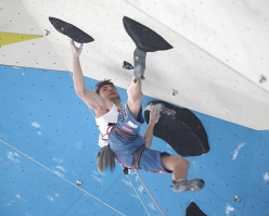 Stefano Ghisolfi competing in the European Climbing Championship Campitello 2017
