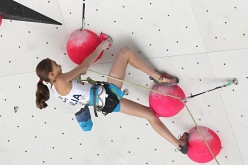 Laura Rogora competing in the European Climbing Championship Campitello 2017