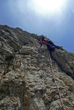 During the first ascent of Controvento on the XI Pillar of Surtana, Sardinia (Mauro Florit, Eugenio Pinotti 5/6.06.2017)
