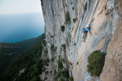 Jan Kareš and Jaro Ovcacek making the first ascent of 'Falco' up the East Face of Punta Argennas, Sardinia