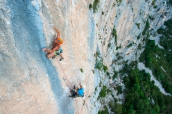 Superb limestone climbing in Sardinia: Jan Kareš and Jaro Ovcacek making the first ascent of 'Falco' up the East Face of Punta Argennas