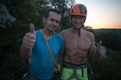 Jan Kareš and Jaro Ovcacek after having made the first ascent of 'Falco' up the East Face of Punta Argennas, Sardinia