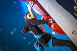 Laura Rogora competing in the final of the European Lead Climbing Championship 2017 at Campitello, Italy