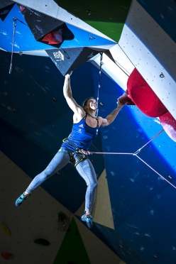 Salomé Romain competing in the final of the European Lead Climbing Championship 2017 at Campitello, Italy